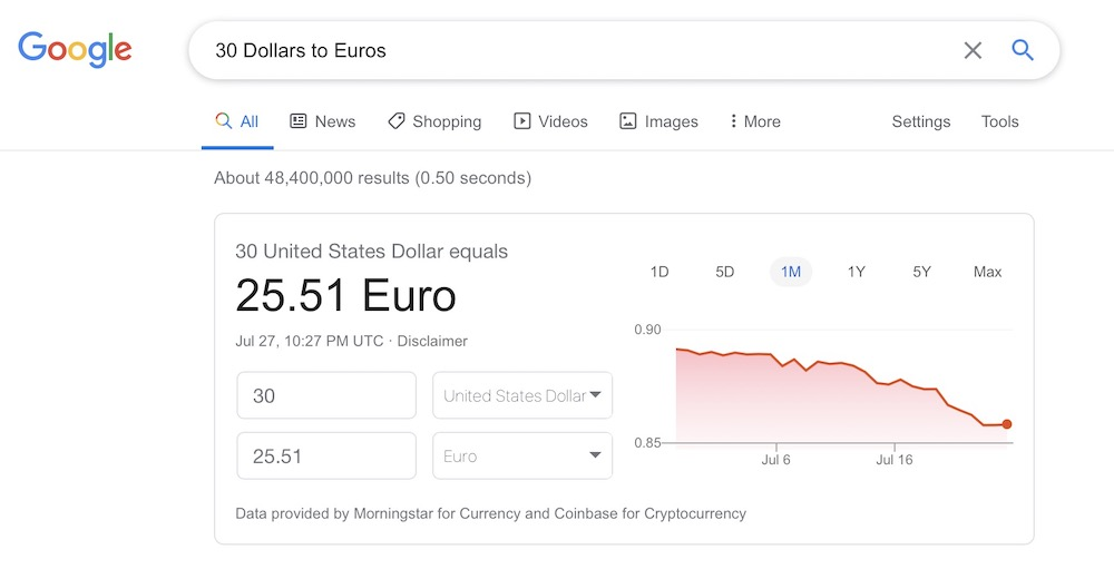 Dollars to Euros Google