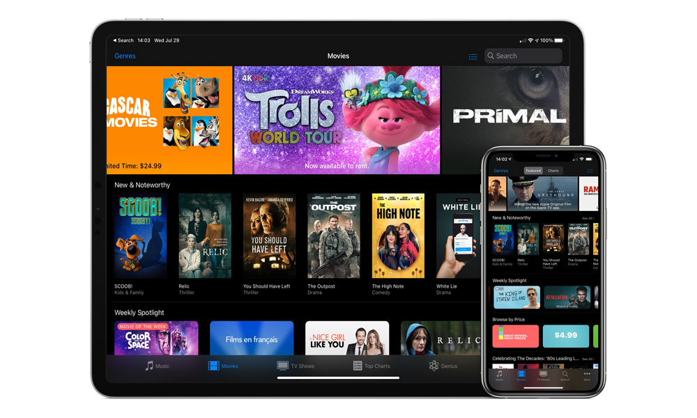 iTunes Movie Store on iPad and iPhone