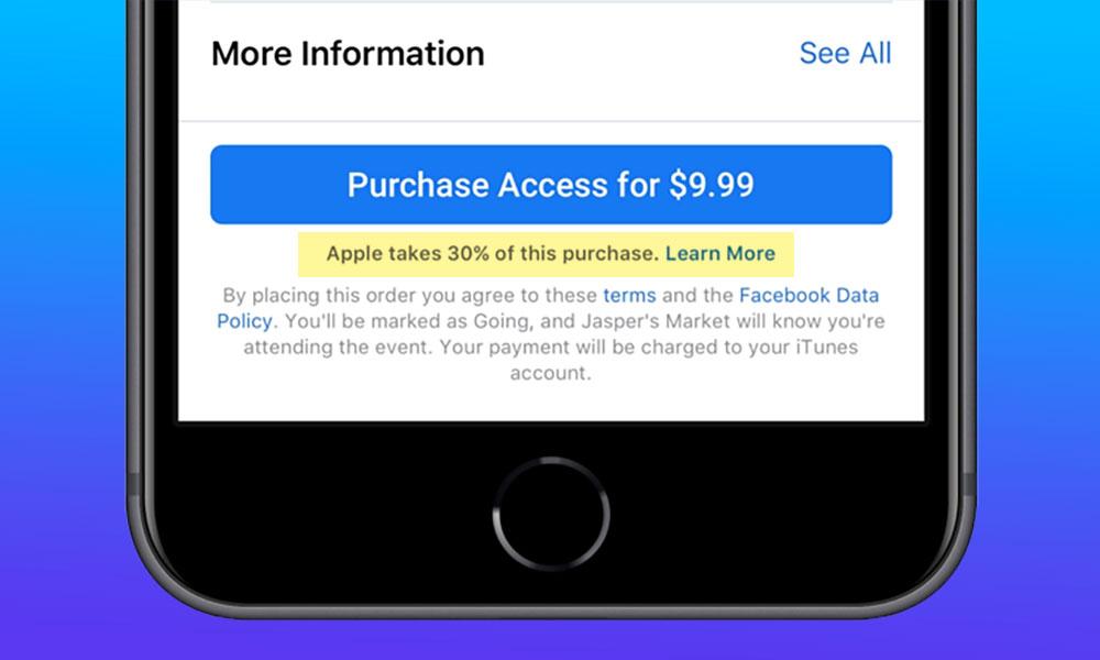 Facebook Events Apple 30 percent cut