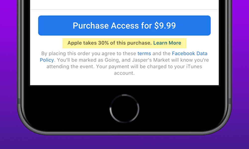 Facebook Apple IAP Notice