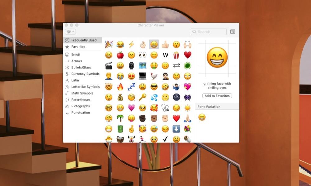 Emoji Selector Window on Mac