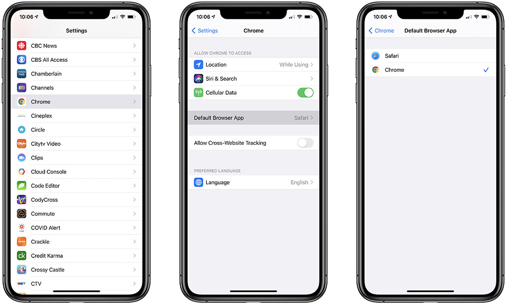 iOS 14 set default browser to Chrome