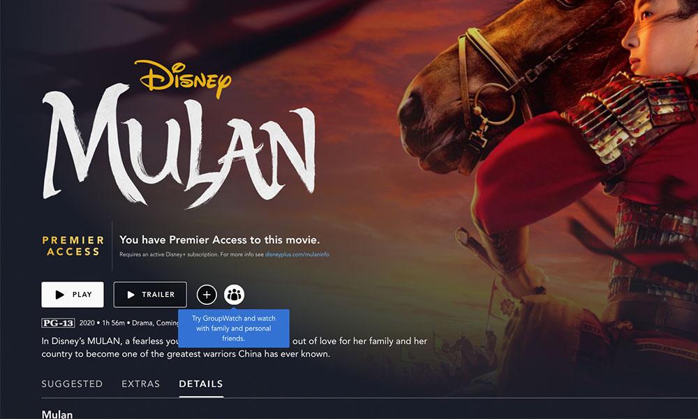 Disney Plus GroupWatch Mulan title screen