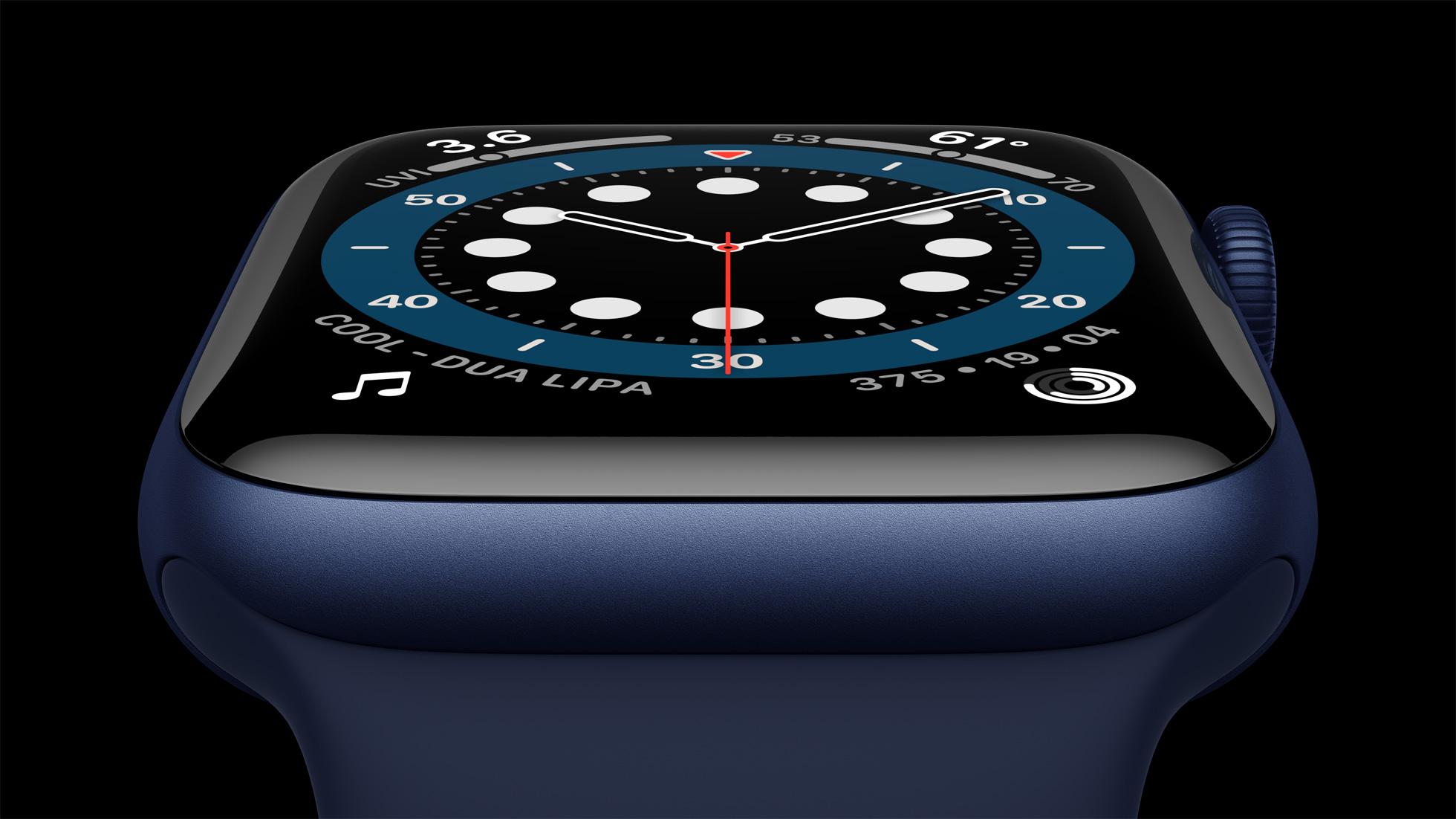Apple watch series 6 Aluminum blue case close up 09152020
