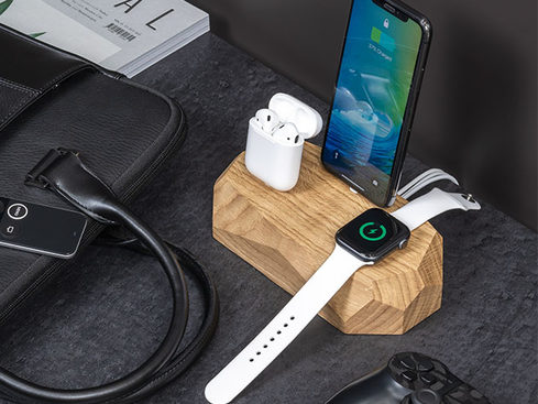 Triple Dock Wooden 3 in 1 Charging Station