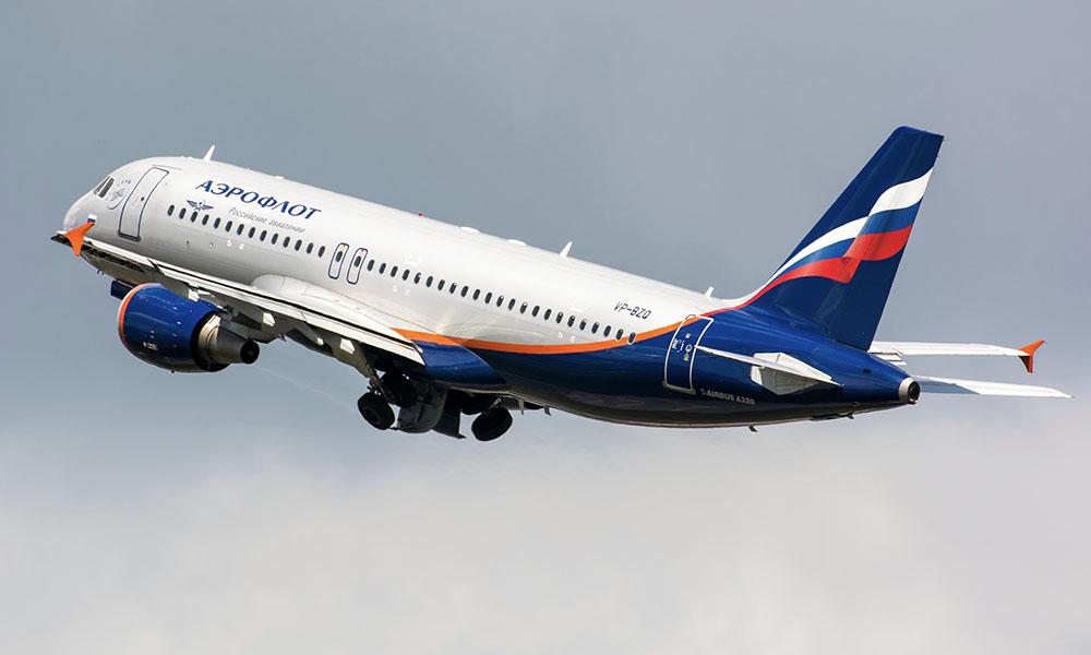 Aeroflot A320 on takeoff