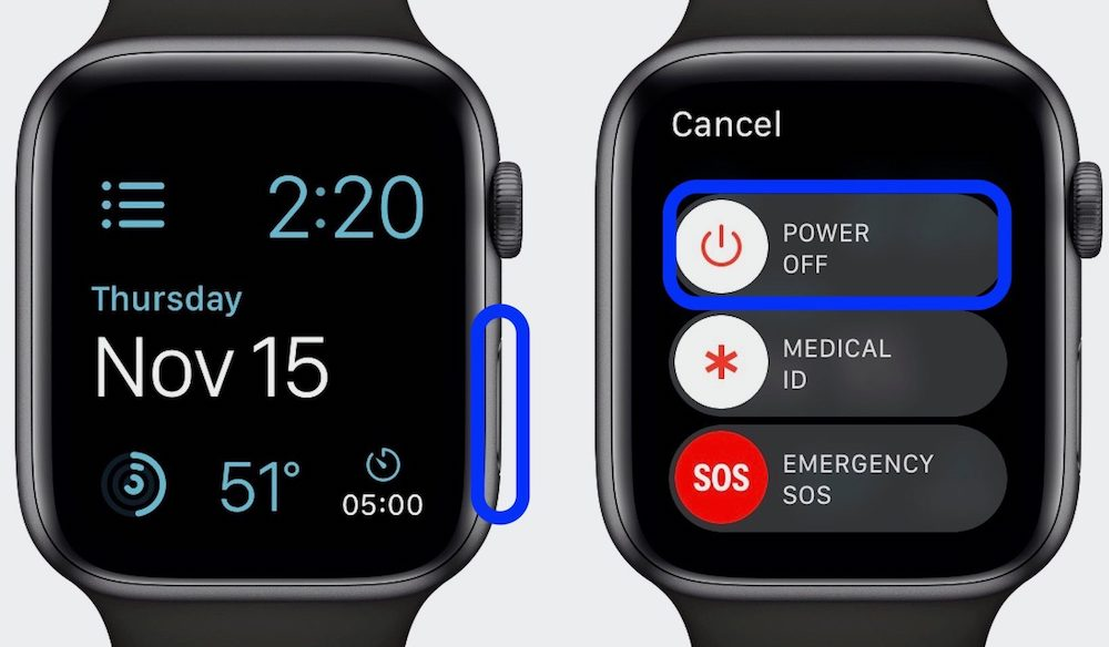 how to turn apple watch off and on