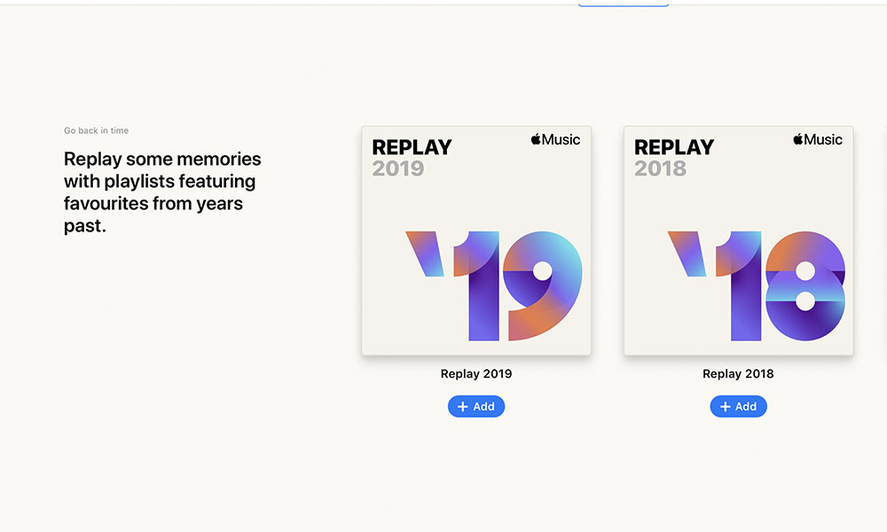 Apple Music Replay Back in Time