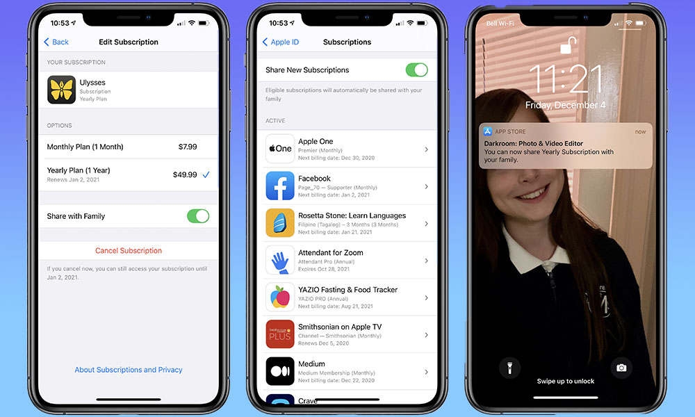 iOS 14 Family Subscription Sharing