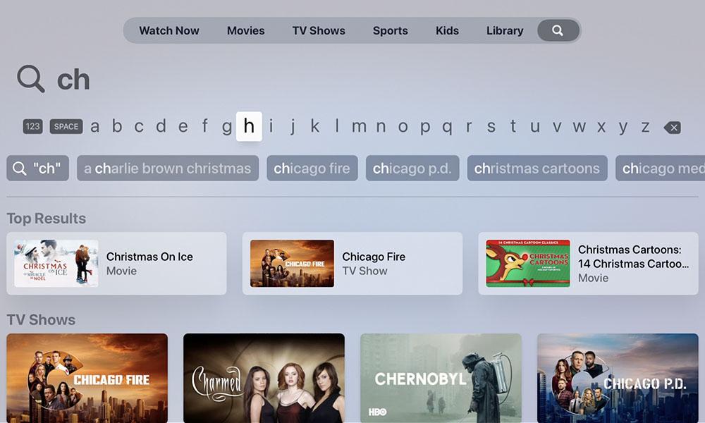 tvOS 14.3 Apple TV app search