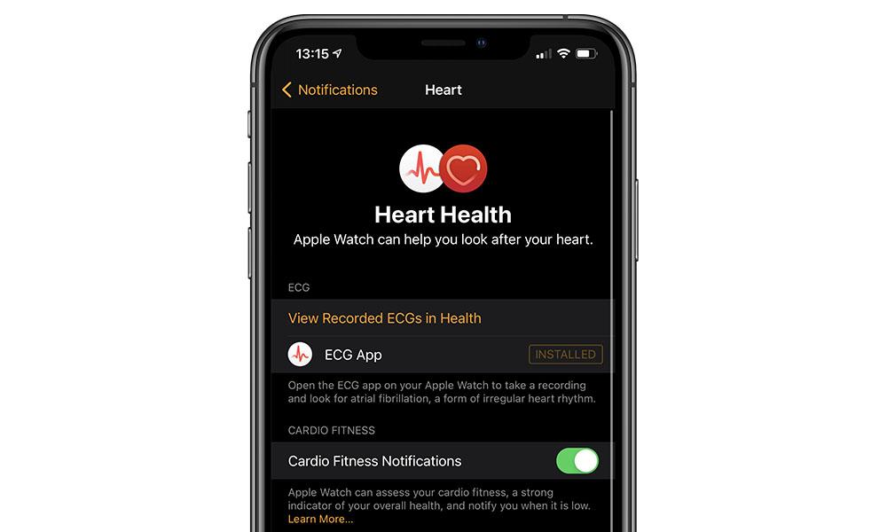 Apple Watch Cardio Fitness Notifications