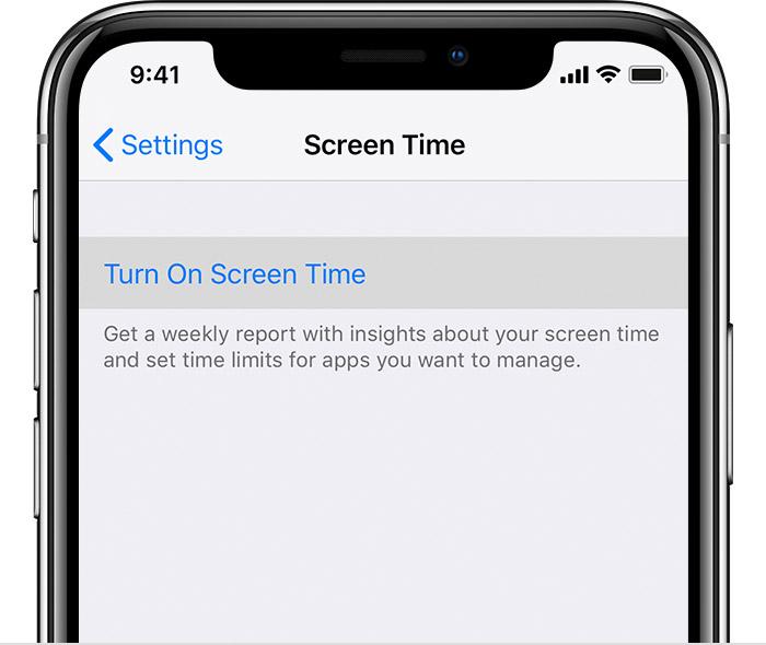 Apple Turn on Screen Time