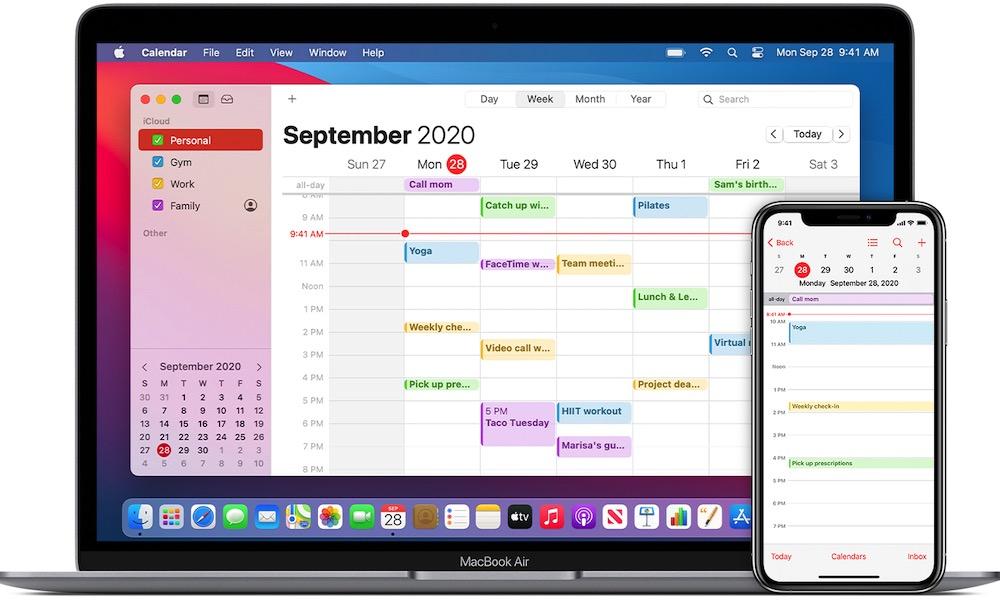iCloud Calendar macOS Big Sur
