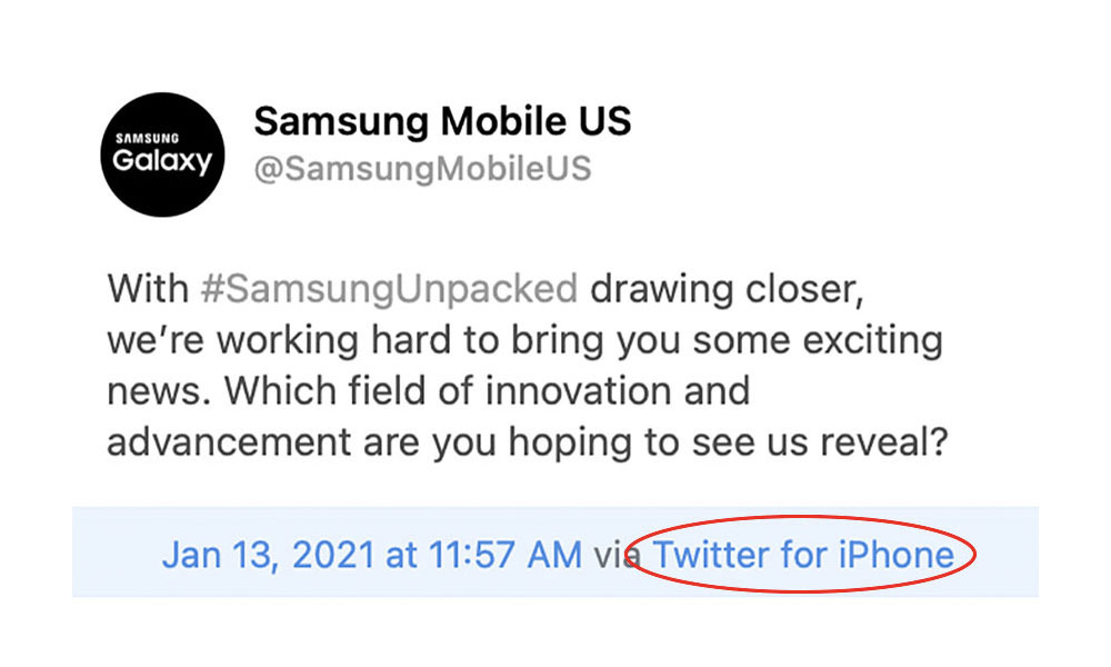 Samsung tweet from iPhone