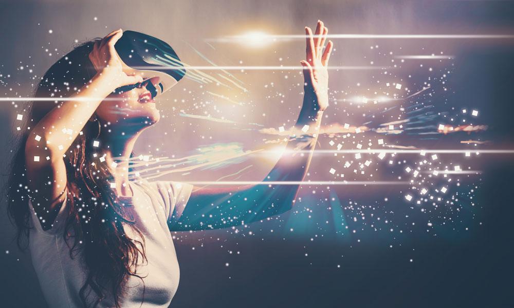 woman wearing AR VR headset