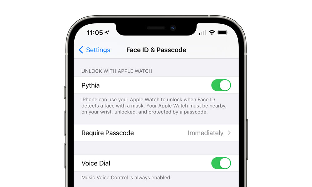 Apple Watch Mask Aware Face ID Unlock Setting