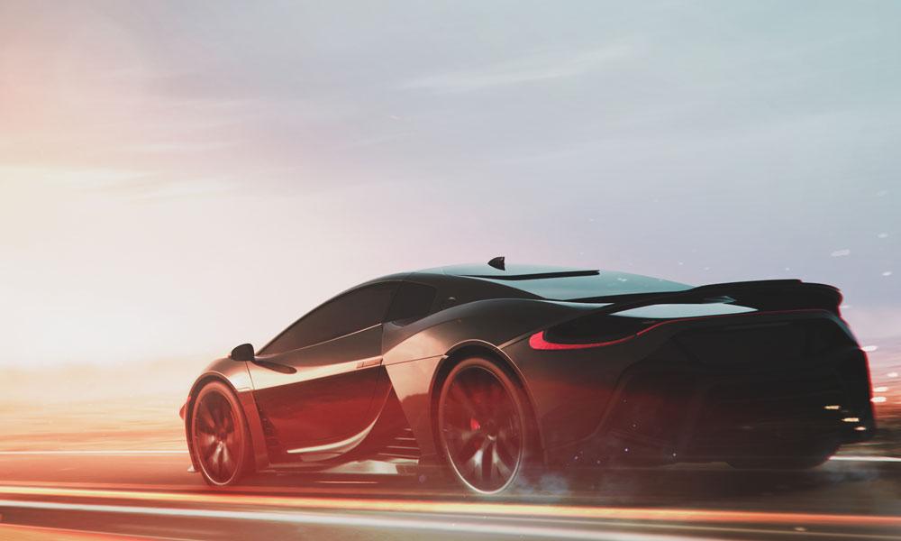 Sports car speeding into the sunset
