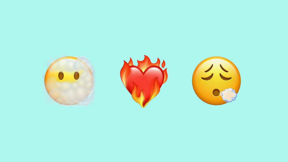 iOS 14.5 Emoji Face in Clouds Heart on Fire Face Exhaling