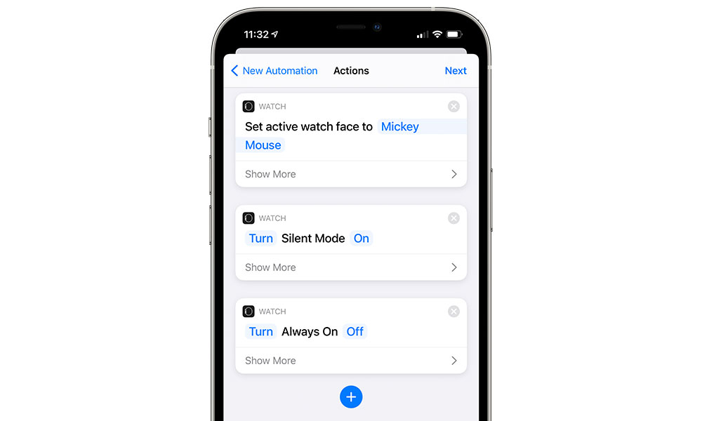 Shortcuts Change Apple Watch Face and modes
