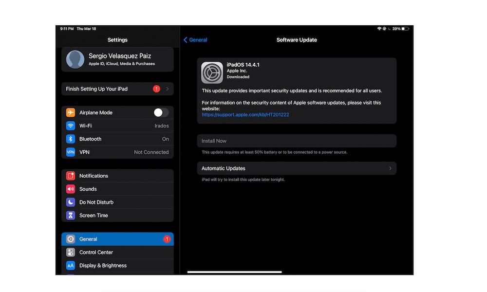 Software update iPad