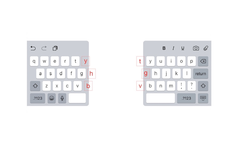 iPad Split Keyboard Hidden Keys