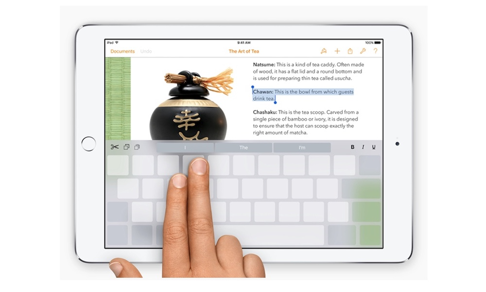 iPad Keyboard Trackpad Using Two Fingers