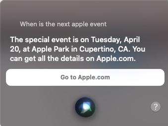 Apple Event Siri on Mac April 20th