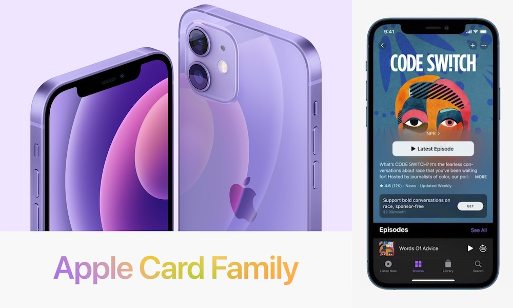 Purple iPhone 12 Apple Card Family and Podcasts Update Hero