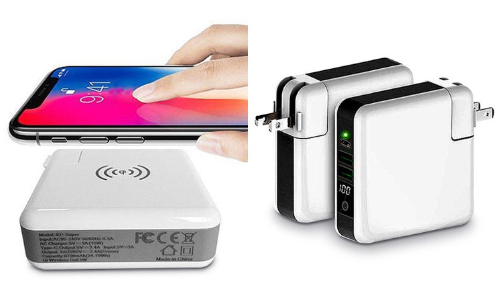 3 Port Charger with Qi Enabled Wireless Charger