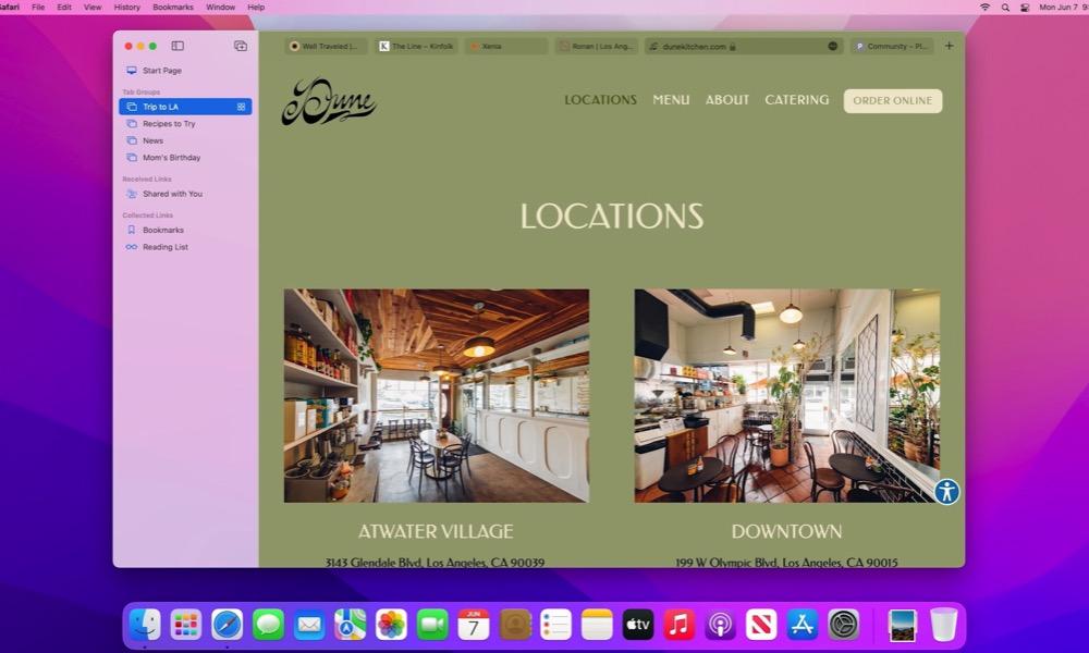 Tab Groups Safari macOS Monterey 2