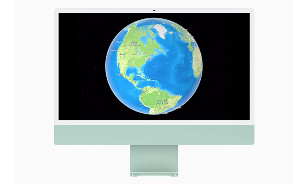 macOS Monterey Apple Maps Globe on M1 iMac