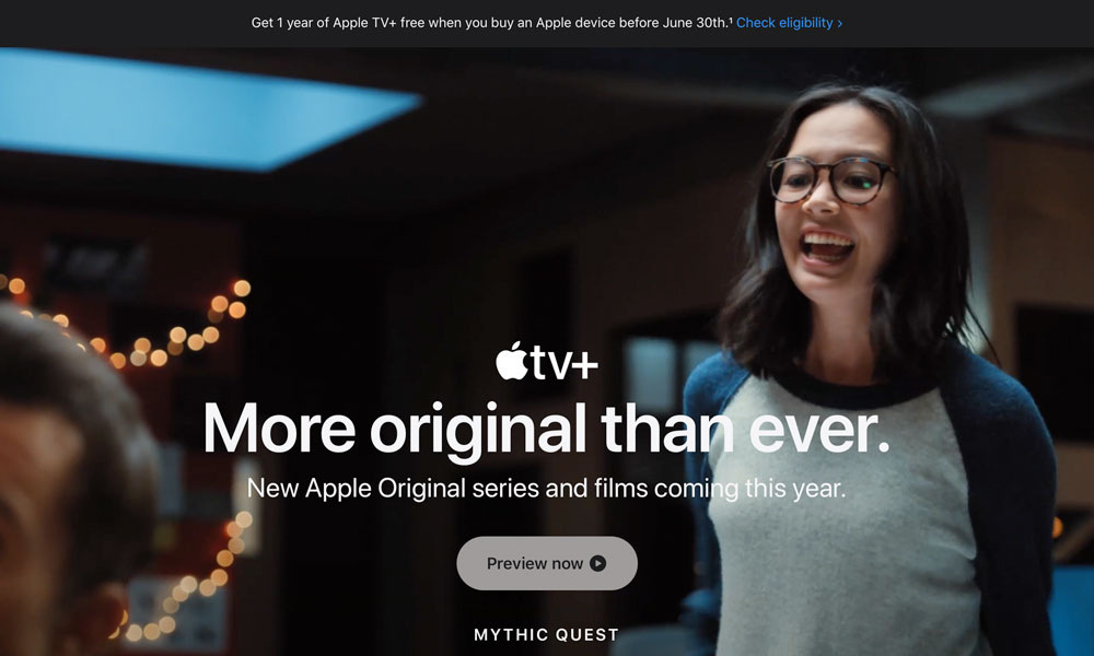 Apple TV website Mythic Quest updated promo offer