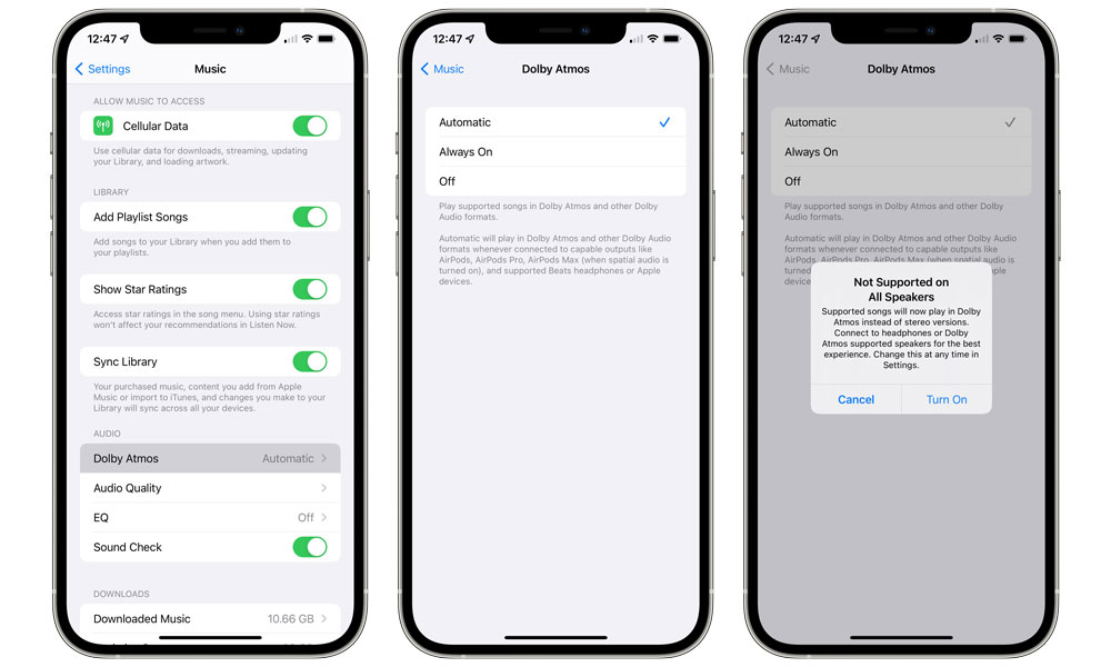 Apple Music Dolby Atmos Spatial Audio settings