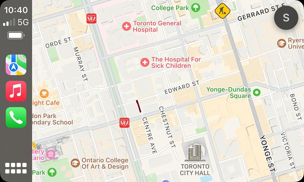 iOS 15 CarPlay Maps Downtown Toronto