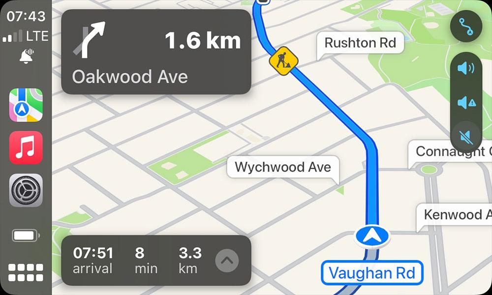 iOS 15 CarPlay Navigation Alerts