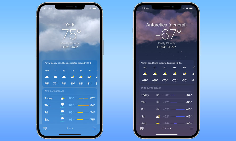 iOS 15 Weather app on iPhone 12 Pro Max