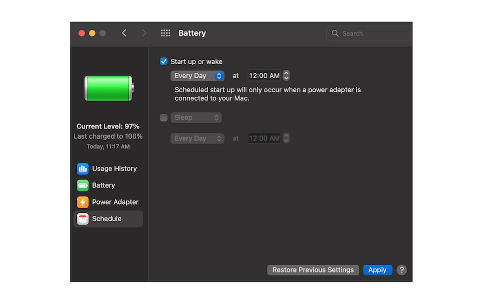 Schedule a Reset Time on MacBook