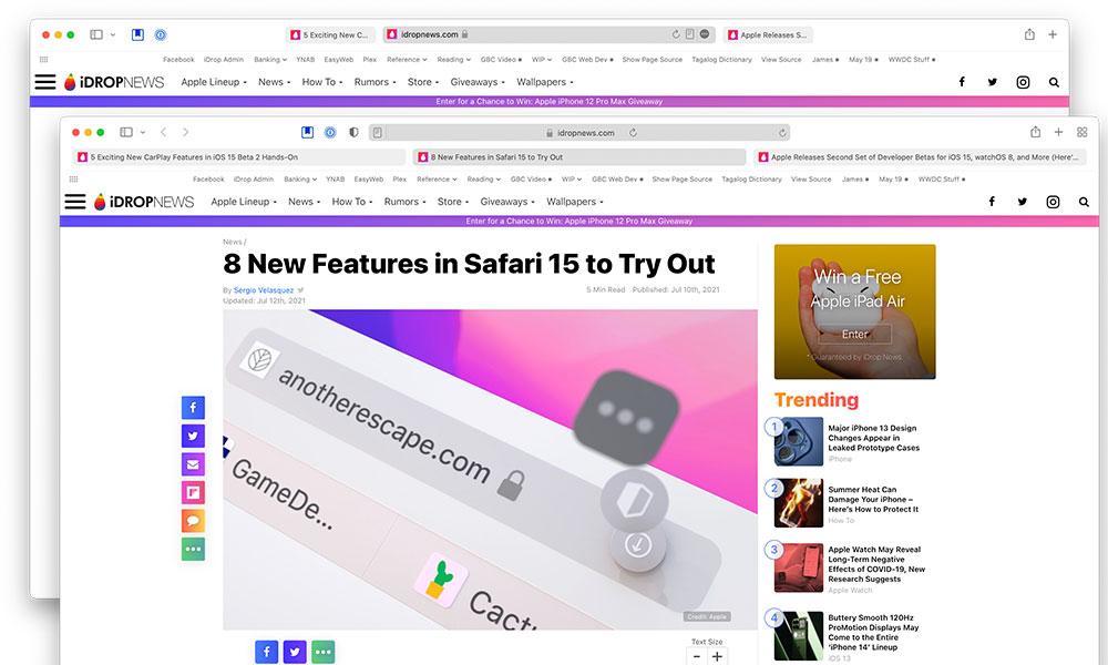 Safari in macOS 12 beta 2 vs beta 3