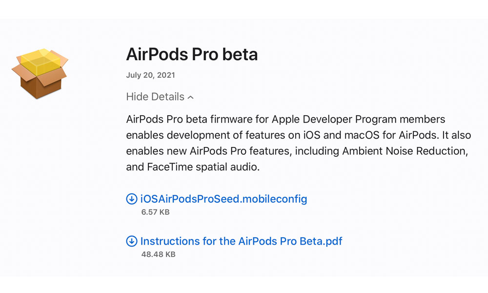 AirPods Pro beta firmware download page