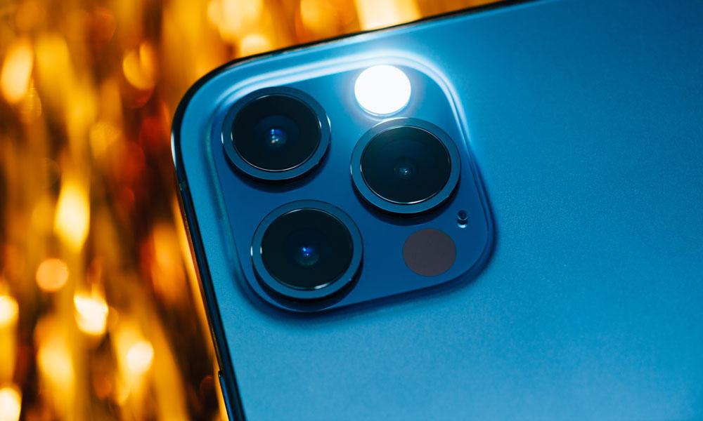 iPhone 12 Pro Max camera rear flash on