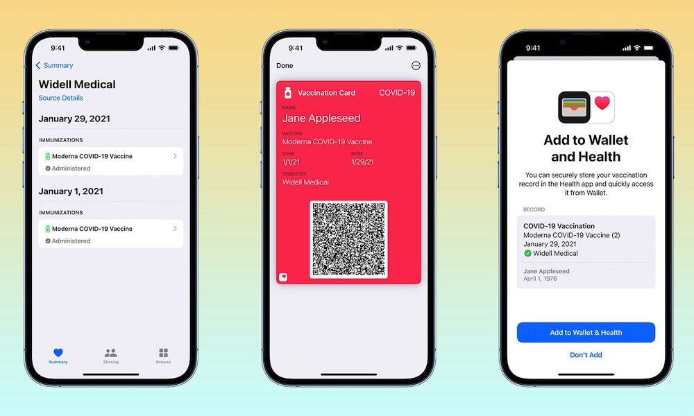 Apple COVID Vaccination Card in Apple Wallet