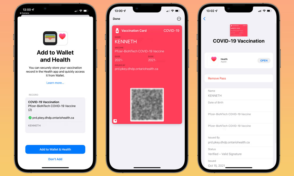 iOS 15.1 COVID 19 Vaccine Card with background